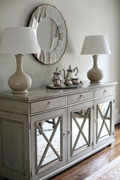 Credenza for dining room I hope I can find something like this - I love the mirrored doors. I want lots of mirrors opposite the window to brighten the room up. Buffet Table Ideas Decor Dining Rooms, Gray Dining Rooms, Dining Room Buffet Table, Grey Living Room Furniture, Hallway Table Decor, Modern Buffet Table, Buffett Table, Entryway Console Table, Painted Dining Room Table
