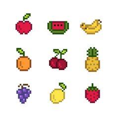 Collection of mixed pixelated fruits Fre. Pixel Pattern, Pattern Art, Cross Stitching, Cross Stitch Embroidery, Cross Stitch Designs, Cross Stitch Patterns, Cool Pixel Art, Pixel Art Food, Pearl Beads Pattern