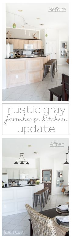 BEAUTIFUL Gray Kitchen! This kitchen went from pink pickled oak mess to a perfect light gray rustic farmhouse-inspired space full of character.…