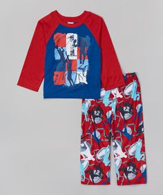 Red & Royal Sports Pajama Set - Toddler & Boys by Candlesticks #zulily #zulilyfinds