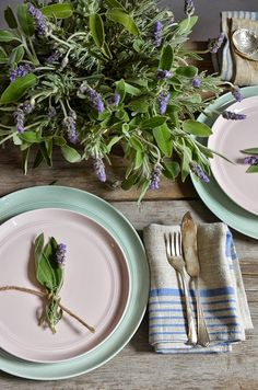 A Fragrant Herb Bouquet. - love this rustic setting