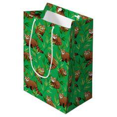 Red Panda & Bamboo Leaves Pattern Medium Gift Bag - animal gift ideas animals and pets diy customize