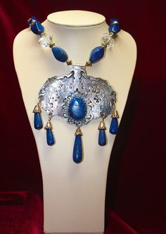 Silver TRIBAL Lapis Quartz Crystal by MicheleMilanoJewelry on Etsy, $225.00