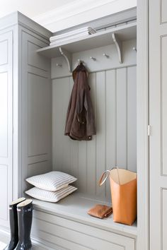 Chic gray mudroom features a gray built-in bench accented with gray wainscoting and beadboard trim lined with an overhead shelf and corbels Chic gray… – Mudroom Cabinetry, Storage, Boot Room, Laundry Room Design, Home Decor, Utility Rooms, Entrance Hallway, Mudroom Entryway, Room Design
