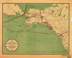 Historical Map of Alaska trading territory 1897 by HyannisMarina