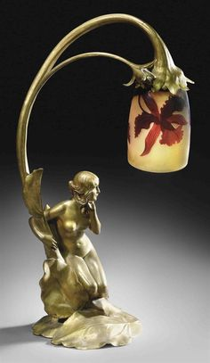 Maurice Bouval figural lamp, circa 1900.