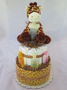 Baby Giraffe Diaper Cake  - What a great shower gift idea.