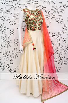 PalkhiFashion Exclusive Full Flair Beige Pure Silk Outfit with Elegant Work and Duppata.