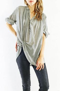 Black and Ivory Pin Stripe Normandy Shirt by Nili Lotan | shopheist.com