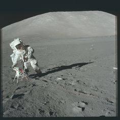 Apollo 17 Hasselblad image from film magazine - & Doing science on the moon.