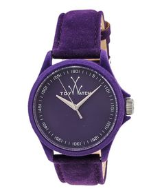 This Purple Velvet Leather-Strap Watch by ToyWatch is perfect! #zulilyfinds
