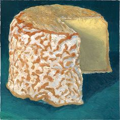 """""""Blow Horn"""" a #cheeseportrait of a local Philadelphia area #cheese by the folks at Doe Run Farm.  It's a beautiful rinded cheese and so damn delicious.  Prints of this are available at: http://mikegeno.com/catalog/art_viewer.php?artworkID=302&sortBy=0&category=1&startNum=51&showStoreID=14  #cheeseart #painting #stilllife #cheesepainting #foodart"""