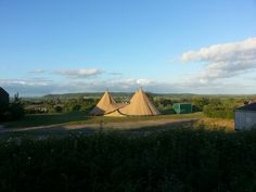 The Wonderful Tipis and view across the Somerset Levels from Walkers Farm Cottages.