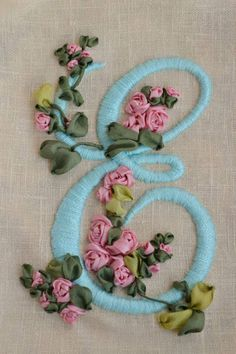 satin and silk ribbon embroidery Embroidery Alphabet, Embroidery Monogram, Silk Ribbon Embroidery, Crewel Embroidery, Embroidery Hoop Art, Hand Embroidery Designs, Embroidery Supplies, Embroidery Stitches Tutorial, Embroidery Techniques