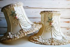Vintage Victorian Ribbon Sttiched Lamp Shade