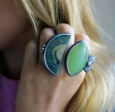 Aglow in the Forest - Imperial Jasper and Chalcedony Sterling Silver Ring