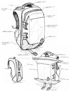 Standard Pacific Goods is raising funds for All-Adventures Backpack - THE FIELD RUCKSACK on Kickstarter! Structural Drawing, Technical Drawing, Id Design, Sketch Design, Drawing Bag, Bag Illustration, Industrial Design Sketch, Cool Sketches, Designer Backpacks