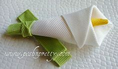 Calla lily hairbow