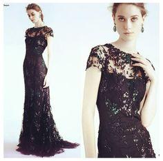 Cap sleeve black lace gown