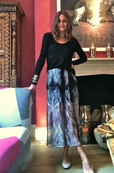 printed with black #maxi_skirt #printed_skirt #olivia_palermo