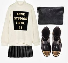 Acne cotton Sweatshirt, Alice+Olivia Pleated leather mini skirt, Zadig and Voltaire clutch, Zadig and Voltaire dore black cap toe lace up Bo...