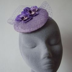 Lilac and Purple Shaded Veiled Large Velvet Pansy Fascinator Lilac Flowers 7e83ee738b2