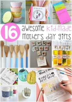 Awesome Kid-Made Mother's Day Gifts. Mom's will love these homemade gifts from kids! Perfect for preschool, kindergarten, first grade or second grade.