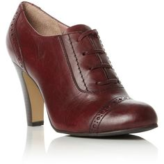 Oxblood Brogue Lace Up Shoeboot ($110) ❤ liked on Polyvore