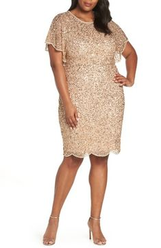 Adrianna Papell Beaded Flutter Sleeve Sheath Dress (Plus Size) Mother Of The Bride Fashion, Mother Of The Bride Plus Size, Plus Size Brides, Plus Size Wedding, Gold Plus Size Dresses, Plus Size Gowns, Evening Dresses Plus Size, Mob Dresses, Short Sleeve Dresses