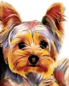 Cute Little Puppy - DIY Diamond Painting – Colorelaxation Cute Little Puppies, Yorkshire Terrier Puppies, Yorkie Puppy, Yorkies, Dog Portraits, Animal Paintings, Dog Art, Pets, Cross Stitch