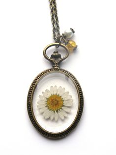 Daisy Resin Pendant Necklace  Real daisy in resin  by ScrappinCop, $17.50