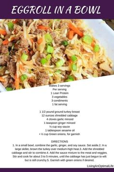 Eggroll in a bowl! I know, the perfect lean and green meal. Enjoy, and your welcome. Medifast Recipes, Diet Recipes, Cooking Recipes, Healthy Recipes, Skinny Recipes, Egg Roll Recipes, Bariatric Recipes, Healthy Meals, Lean Protein Meals