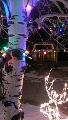Superior Bridge and Bentleyville Lights. Duluth, Minnesota.