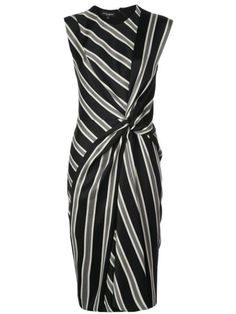 NARCISO RODRIGUEZ STRIPED WOOL JACQUARD KNOTTED MIDI-DRESS. #narcisorodriguez #cloth