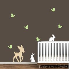 Nursery Decal with Forest Animals by DesignsByDelia09 on Etsy, $34.00