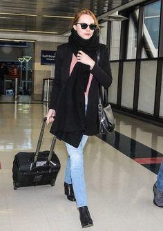 Emma Stone Arrives on a Flight at LAX