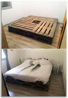 44 Best Recycled Pallet Bed Frame Ideas To Make It Yourself Wooden Pallet Beds, Diy Pallet Bed, Pallet Furniture, Pallet Ideas, Pallet Benches, Pallet House, Pallet Tables, 1001 Pallets, Recycled Pallets