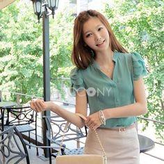 Asian Summer New Arrivals V-Neck Wave Short Sleeve Chiffon Shirts
