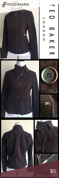 "New Listing! Ted Baker Brown Jacket Ted Baker London Brown Brushed Cotton Jacket. This is avTed Baker size 3 which is equivalent to a Size M. Signature Ted Baker Buttons & Gold insignia. 2 vertical side pockets. Collar can be buttoned up & Folded over or worn open. Measurements- Shoulder-16"" Bust-19"" Sleeve-24"" Length-21"". Very unique & fabric looks like suede. Bundle & Save $ Ted Baker London Jackets & Coats"