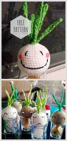 Amigurumi Growing Onions On Windowsill Free Pattern, Crochet Dolls Free Patterns, Amigurumi Patterns, Free Crochet, Crochet Fruit, Crochet Food, Amigurumi Free, Amigurumi Tutorial, Crochet Fairy, Crochet Home Decor