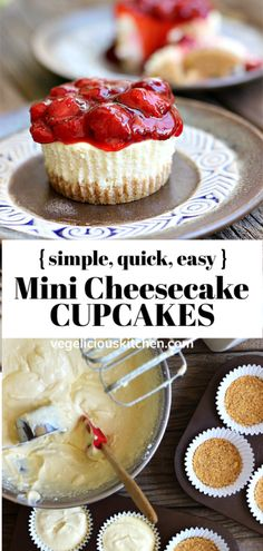 So delicious with only a few simple ingredients, these Easy Mini Cheesecake Cupcakes will be your favorite quick and easy dessert. Easy Mini Cheesecake Cupcakes - Creamy and delicious, a simple, quick & easy dessert Quick Easy Desserts, Summer Dessert Recipes, Spring Desserts, Desserts For A Crowd, Fancy Desserts, Lemon Desserts, Holiday Desserts, Easy Snacks, Easy Delicious Desserts