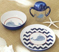 Navy Whale Feeding Gift Set | Pottery Barn Kids