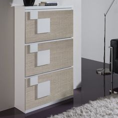 Orren Ellis Contemporary 24 Pair Shoe Storage Cabinet Finish White Eco