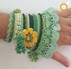 Örgü takı modelleri – Örgü bileklik modelleri We believe tattooing could be a method that's been used since enough time … Crochet Bracelet, Beaded Braclets, Crochet Earrings, Freeform Crochet, Knit Crochet, Crochet Gloves, Wrist Warmers, Jewelry Model, Crochet Accessories