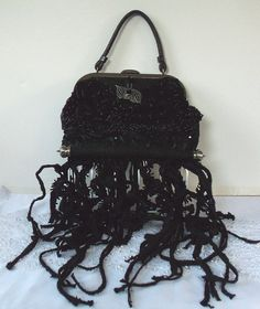 #avant-garde #black goth purse #cartera #vintage leather #beaded #tendrils #OOAK #Morticia Adams #LAY AWAY plans available