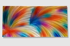 GALA DAY 47 X 24 Abstract art Painting colorful shiny Metal Wall Decor Original Violet Orange Yellow Silver modern by Lubo