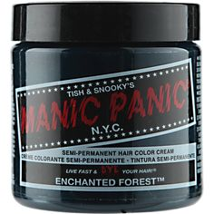 Manic Panic Semi-Permanent Hair Color Cream features not only a classic cream formula, but a vegan formula that colors and conditions hair. Blue Green Hair, Dyed Hair Blue, Green Hair Colors, Aqua Blue, Dark Blonde Ombre, Natural Dark Blonde, Manic Panic Enchanted Forest, Manic Panic Hair Color, Deep Cleansing Shampoo
