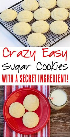 Easy 4 Ingredient Sugar Cookies Recipe! This is seriously such an easy dessert idea!