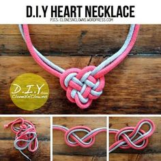 Diy heart knot corded necklace
