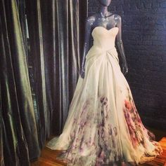This is insane. Beautiful. | Zac Posen Ombré Floral Chiffon wedding gown.